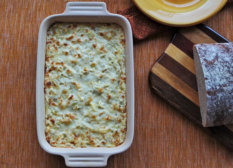 Boursin-yogurt-artichoke-gratin-on-table