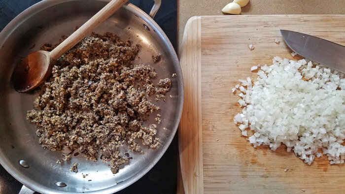 walnut mushroom ragout prep